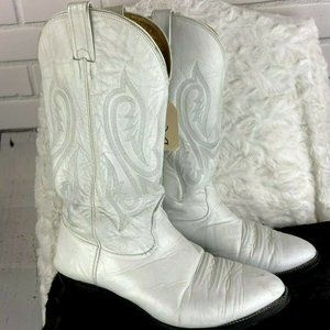 NOCONA Men's White Leather Cowboy Western Boots